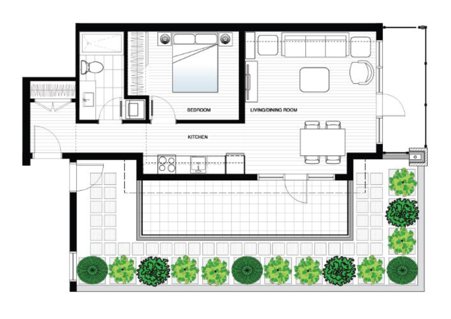 Floor Plan for CLEAN, COMFORTABLE and STYLISH  Brand New 1 BR in Chinatown  with Patio and Free Secure Parking